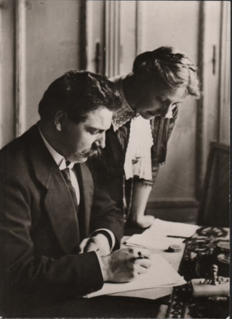 1905-Albert and Helene Schweitzer Correcting Manuscripts together-100dpi