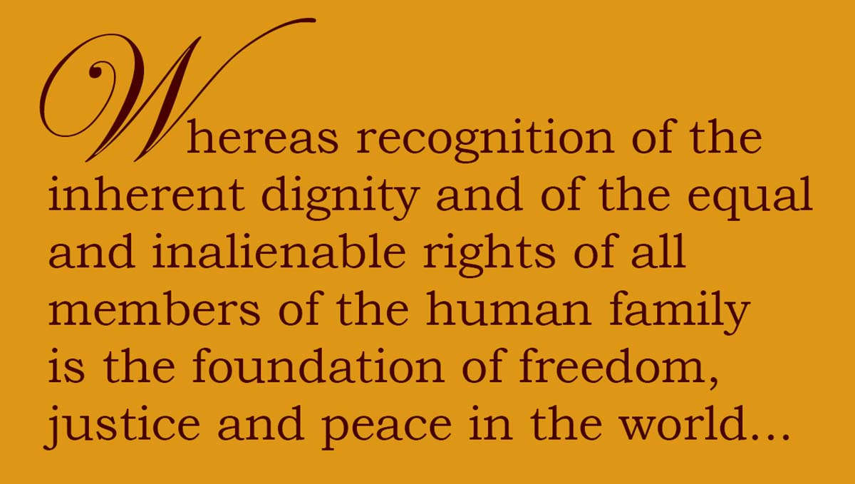 Quote: Whereas recognition of the inherent dignity and of the equal and inalienable rights of all members of the human family is the foundation of freedom, justice and peace in the world