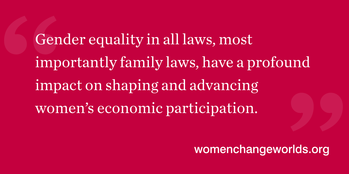 Quote from the article: Gender equality in all laws, most importantly family laws, have a profound impact on shaping and advancing women's economic participation.