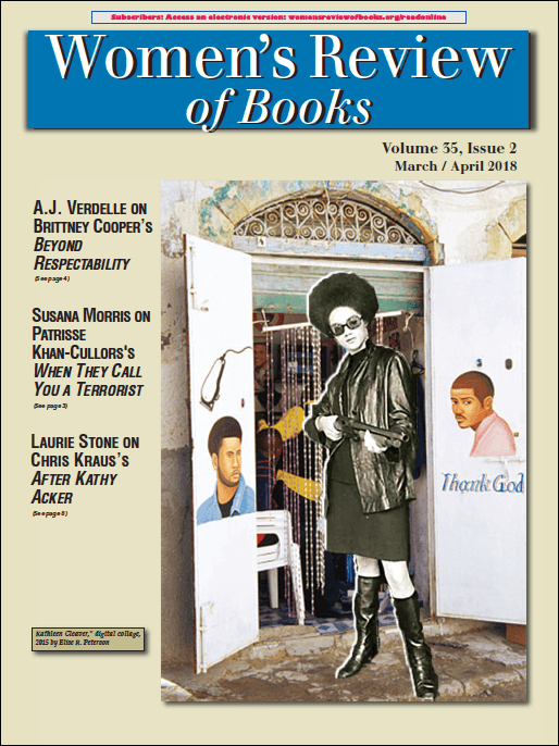 Cover of 2018 March/April Women's Review of Books, featuring cover art by Elise R. Peterson