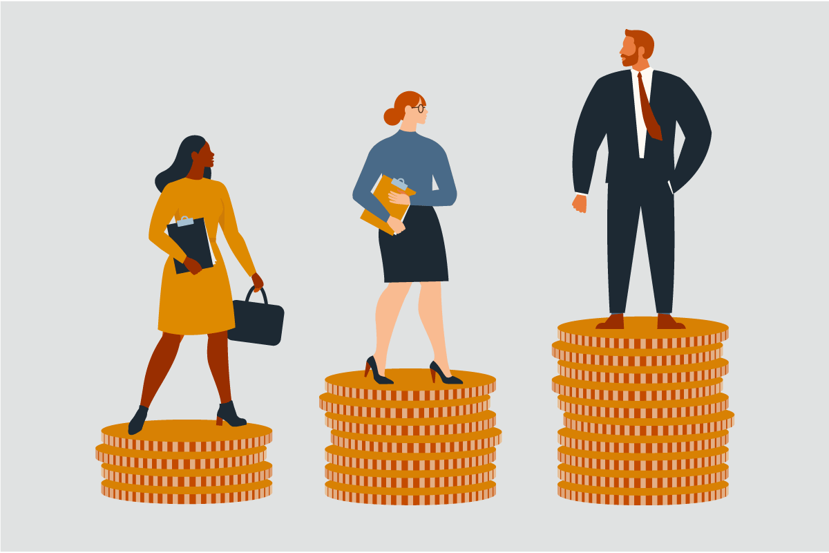 Illustration of three people standing on three stacks of coins to represent the gender pay gap. A white man stands on the tallest stack of coins. A white woman stands on the second tallest stack of coins. A Black woman stands on the lowest stack of coins.