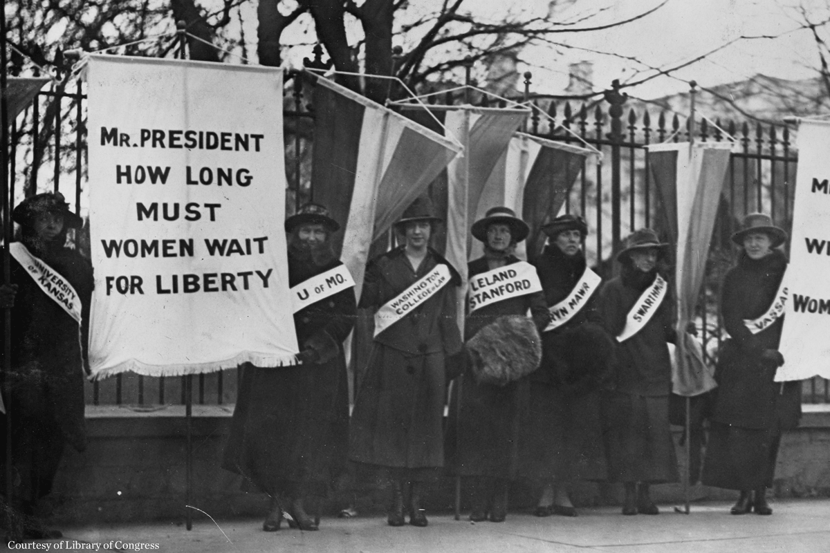 Women suffrage picket line, courtesy of Library of Congress