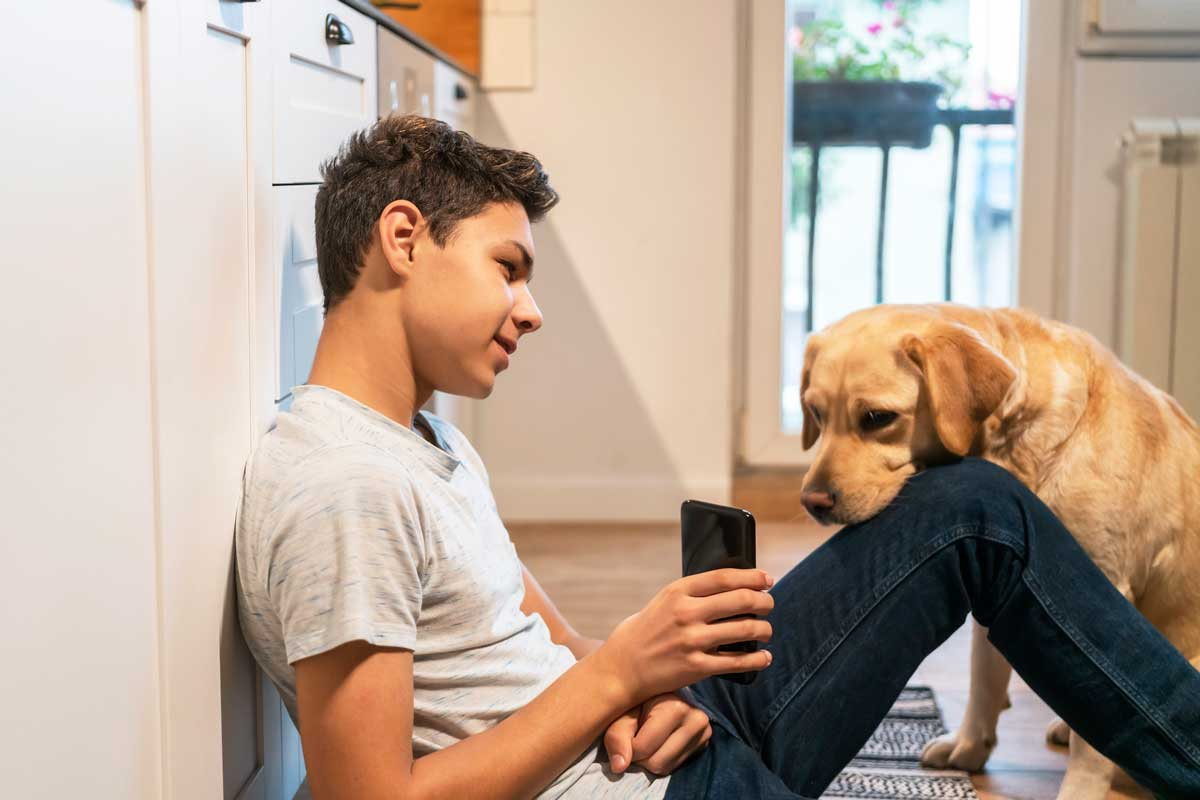 teen boy with dog and phone