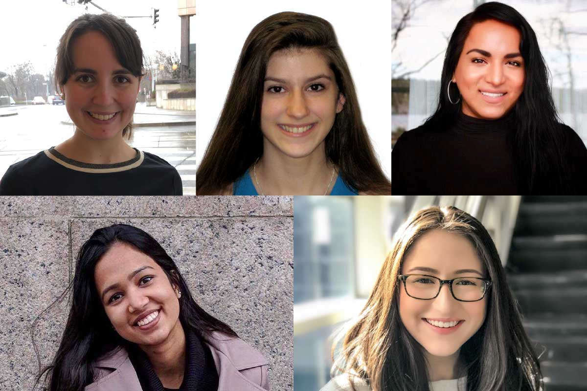 Headshot photos of the student interns who will work at WCW in 2019-20. From left to right, Row 1: Nora Pearce, Jessica Abowitz, Ninotska Love. Row 2: Dhanya Nageswaran, Sandra Riano