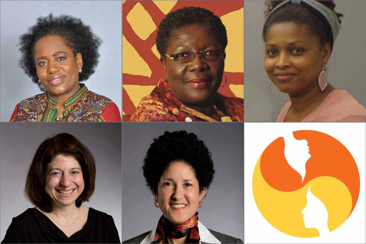 Abigail Burgesson, Dorcas Coker-Appiah, Clementina Furtado, Tracy Gladstone, Layli Maparyan, and logo from WCW UN event